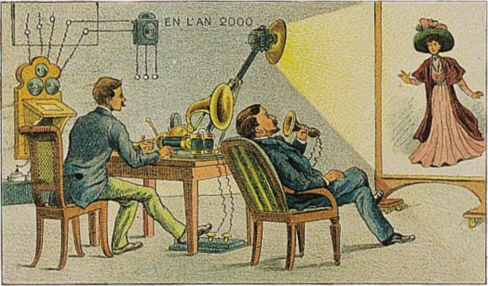 Vintage Video-Telephony by French Artist ca. 1900